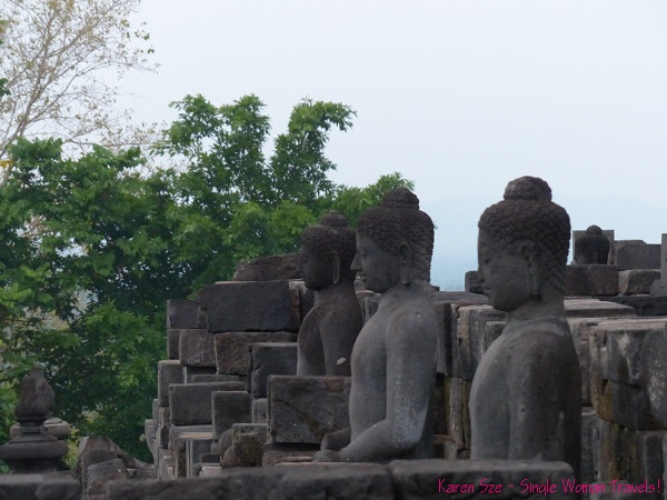 Buddha statues in Borobudur, Indonesia