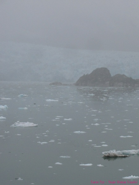 Foggy view of Amalia Fjord and glacier in Chile from the Navimag