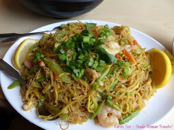 Pancit Bihon with Pancit Canton - Rice vermicelli and egg noodles with chicken and vegetables