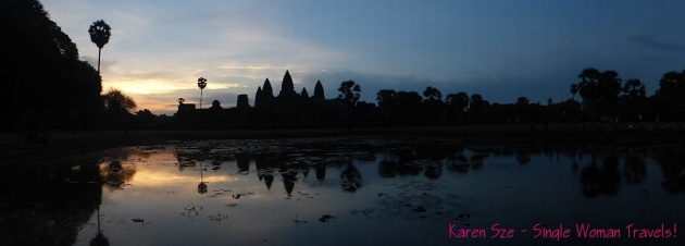 Panoramic view of Angkor Wat at sunrise