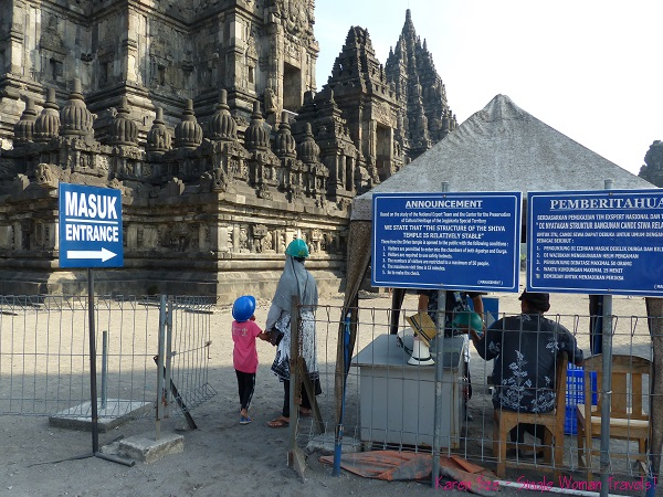 Safety first at Shiva Temple at Prambanan, Indonesia