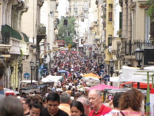 Sea of people at San Telmo Sunday market