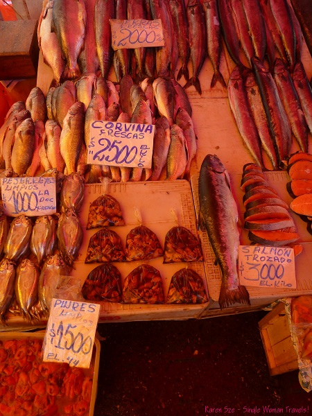 Seafood for sale at Valdivia Fish market