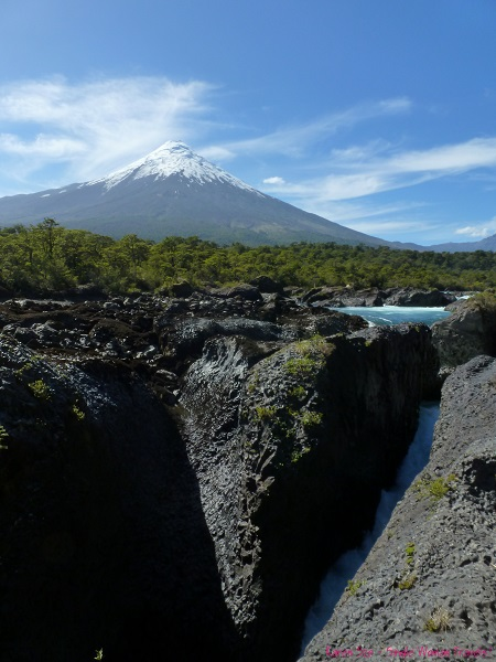 View of Petrohue waterfalls and Osorno volcano in Chile