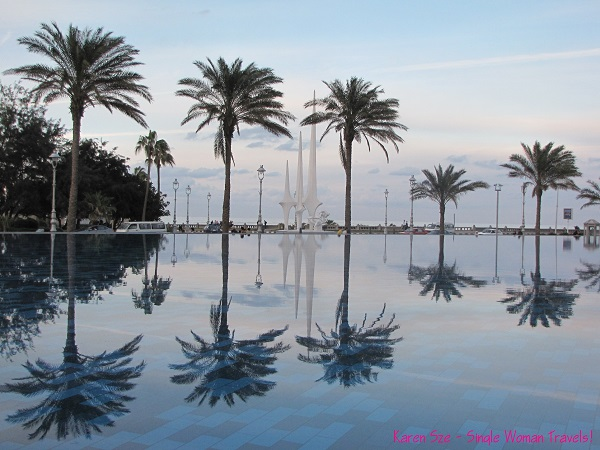 reflection pool at Alexandria library, Egypt
