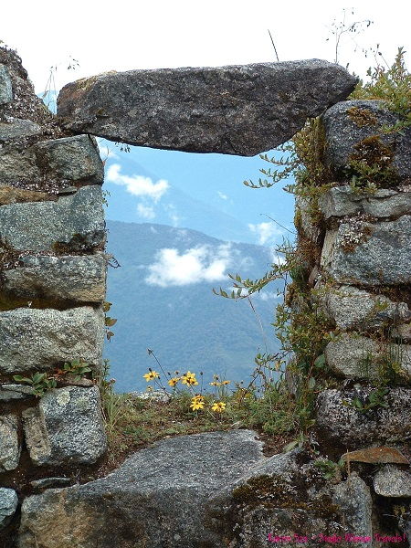 Stone wall window at Machu Picchu, Peru