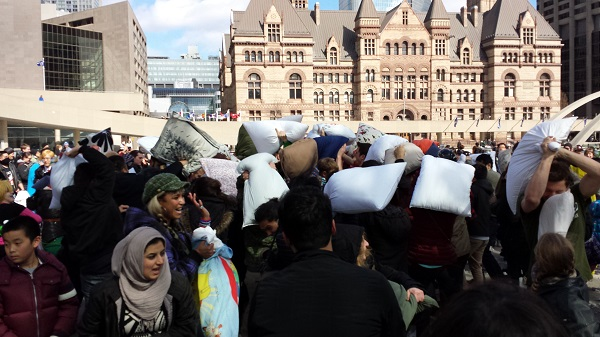 2014 Toronto Pillow fight day at Nathan Phillips Square