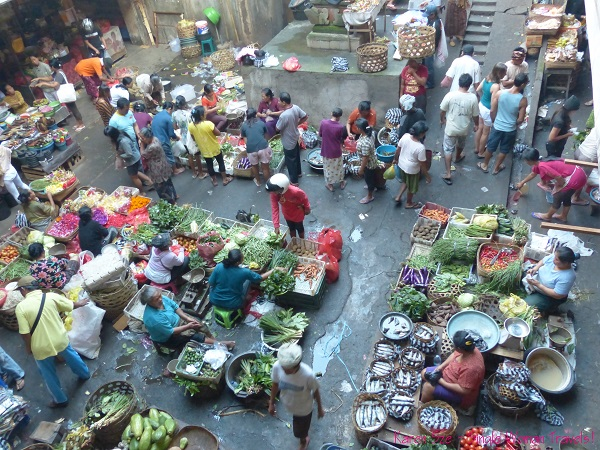 Aerial view of outdoor Ubud market, Bali, Indonesia