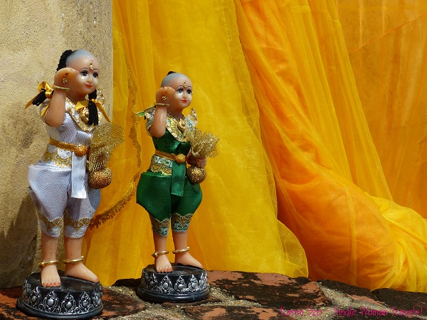 2 very ornate Thai figurines found behind Buddha statue in Ayutthaya, Thailand
