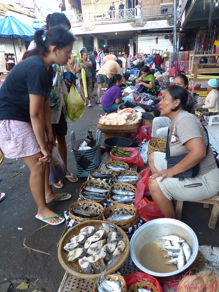 Fish vendors at Ubud main market