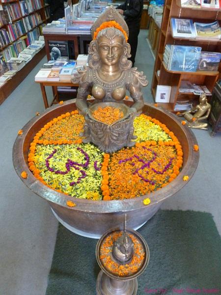 Floral decoration for Diwali inside Pilgrims Book House in Thamel, Kathmandu, Nepal