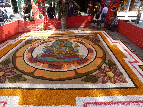 Giant rangoli in Thamel Kathmandu for Diwali celebration