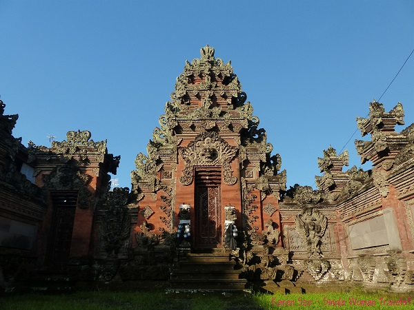 Intricate sculptures decorate traditional entrances to Balinese compounds in Ubud, Bali, Indonesia