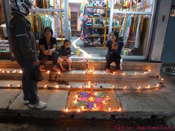 Kathmandu Diwali 2011 - Rangoli path to store