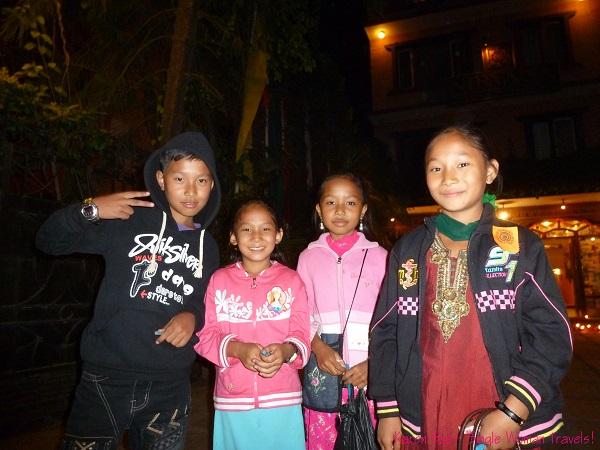 Kids in Thamel Kathmandu on the eve of Diwali