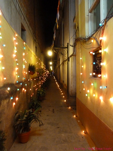 Laneway decorated with lights for Diwali in Kathmandu Nepal