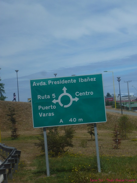 Road signage to Puerto Varas, Chile