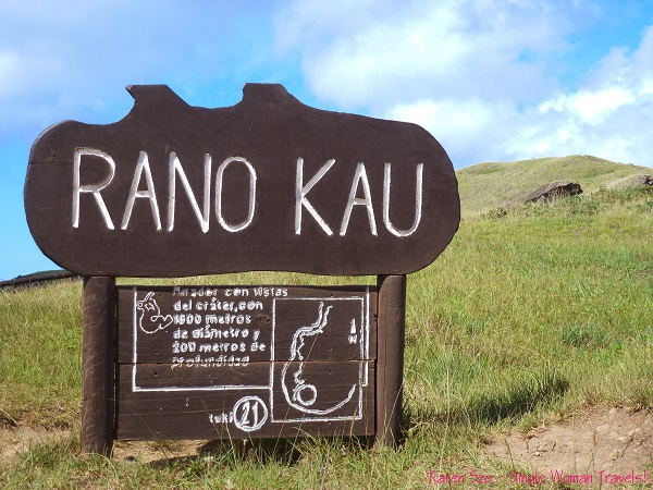 Signage and map to Rano Kau, Rapa Nui, Easter Island, Chile