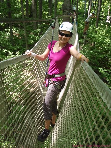 Single Woman Travels enjoying treetop trekking in Canada