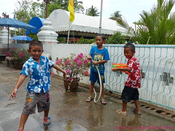 Thai children celebrating Songkran 2013