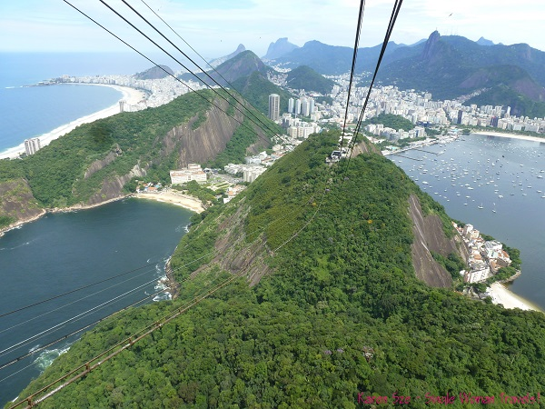 View of Christ the Redeemer and Ipanema beach from Sugar loaf mountain in Rio de Janeiro, Brazil