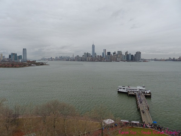View of New York City from pedastal of Statue of Liberty, USA