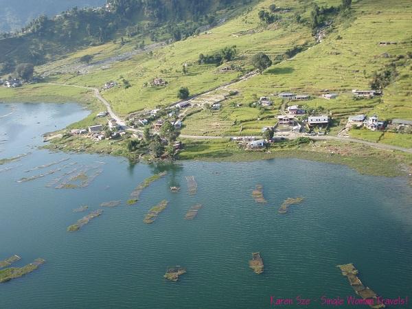 View of Sarangkot, Nepal while paragliding