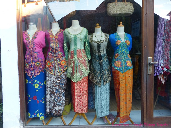 Window shopping - traditional Balinese dresses in Ubud, Bali, Indonesia