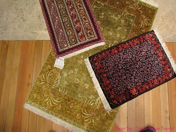 Hand woven silk carpets from Turkey