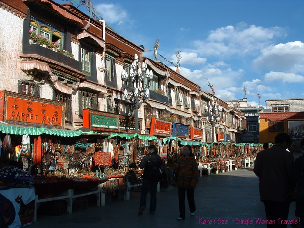 Rows of souvenir shops in Lhasa