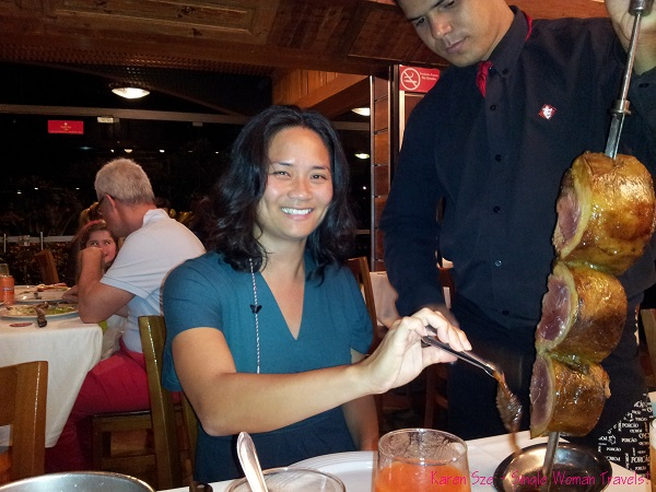 Single woman enjoy fine dining in one of Brazil's best churrascaria - Porcao in Rio de Janeiro