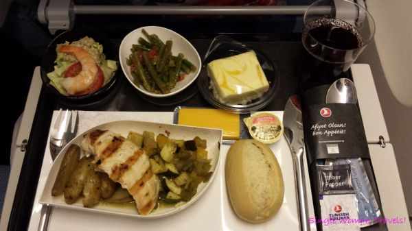 Dinner offered by Turkish airlines