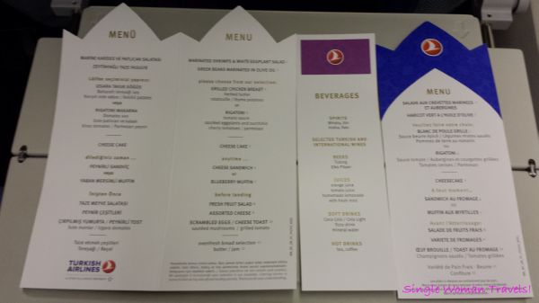 Printed menu from flight TK18 by Turkish airlines