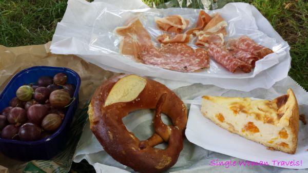 Samplings of the day: Pretzel, Mandarin Schmand Kuchen (Creme fraiche cake), Salami, Proscuitto, Stachelbeeren (Gooseberry)
