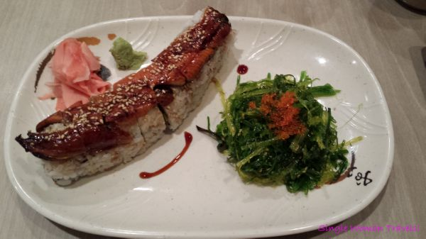Unagi roll with seaweed salad from Sushi on Bloor Toronto