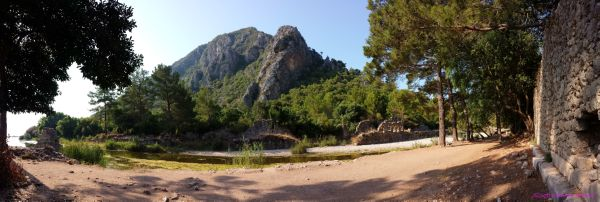 View of nature as backdrop to Olympos ruins