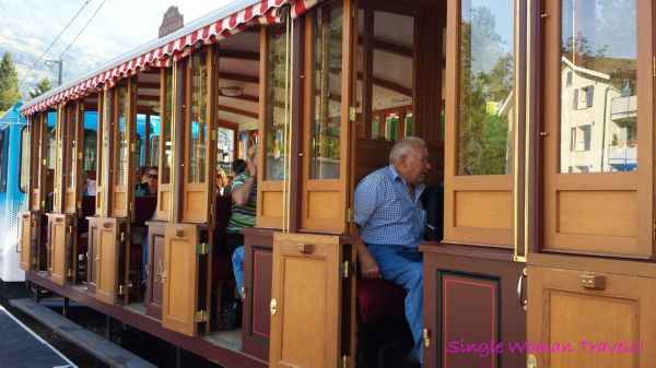 Authentic wooden train carriage to Mt Rigi Switzerland
