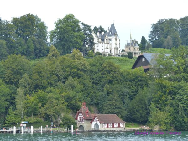 Castle with private church and beautiful boathouse on Lake Lucerne Switzerland
