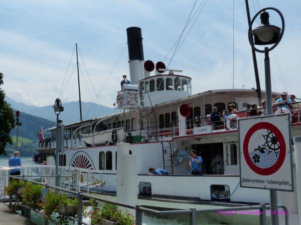 Docking the paddle wheel boat at Vitznau Switzerland