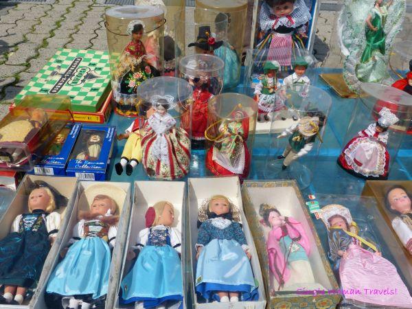 Dolls for sale at flea market Lausanne Switzerland