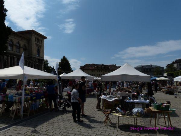 Flea market in front of Palais de Rumine Lausanne Switzerland
