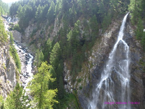 Glimpse of waterfalls from SBB train