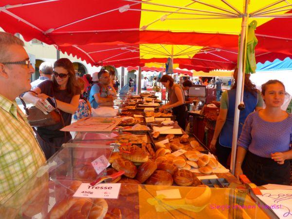 Largest baker stand in the farmer market Lausanne Switzerland