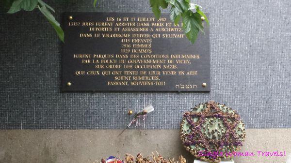 Memorial plaque to locate original site of Velodrome d'Hiver in Paris France
