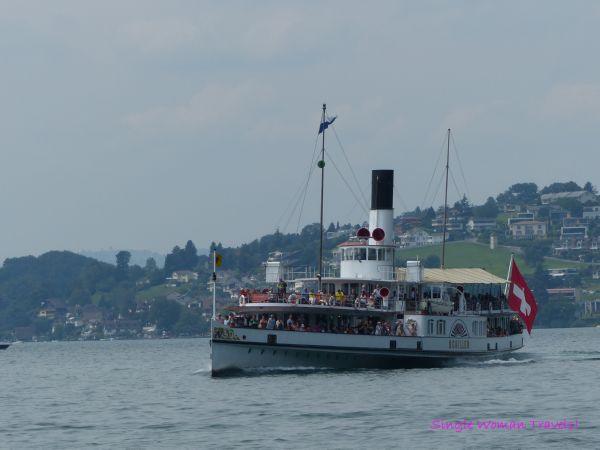 Paddle wheel boat on Lake Lucerne