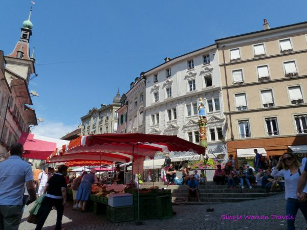 Place de la Palud farmer market Lausanne Switzerland