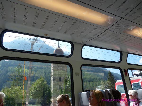 SBB train designed for touristic needs between Zermatt and Visp