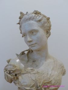 Sculpture of Madame Jean-Baptiste Carpeaux en toilette de mariee by Jean-Baptiste Carpeaux found in Petit Palais Paris France