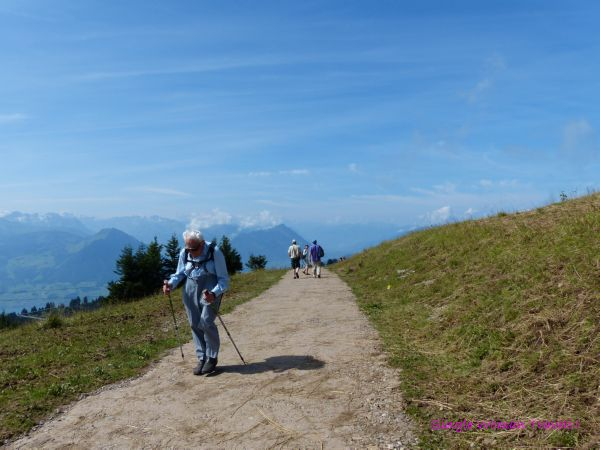 Solo old Swiss man hiking on Mt Rigi Switzerland - inspire