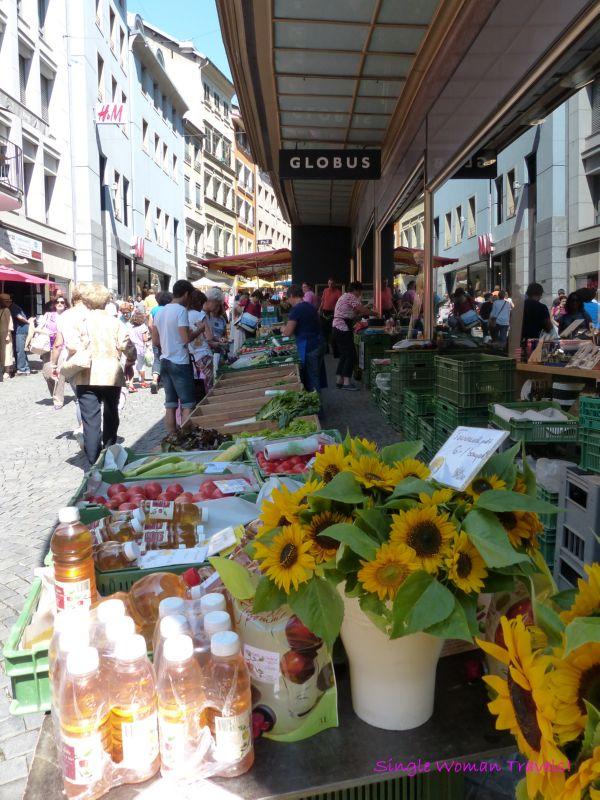 Start of day for Farmer market in Lausanne Switzerland